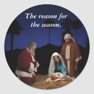 Santa que se arrodilla en la natividad pegatinas
