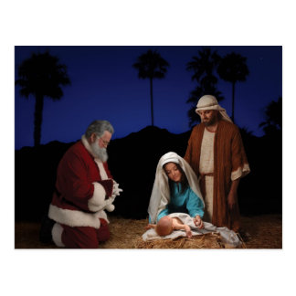 Santa que se arrodilla en la natividad tarjetas postales