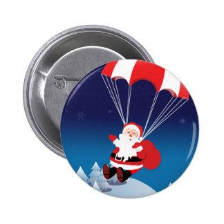 Santa que se lanza en paracaídas pin redondo 5 cm
