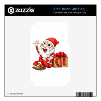 Santa que se sienta al lado de un regalo calcomanías para iPod touch 4G