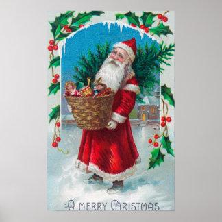 Santa que sostiene la cesta de escena de los jugue impresiones
