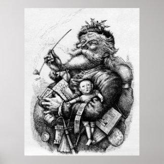 Santa que sostiene los juguetes blancos y negros posters
