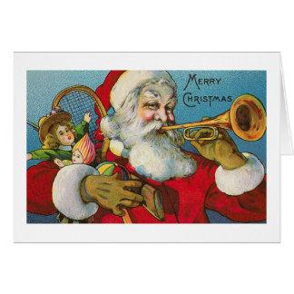 """""""Santa que toca tarjeta de Navidad de una trompeta"""