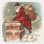 Santa que va abajo de la chimenea calcomania cuadrada personalizada