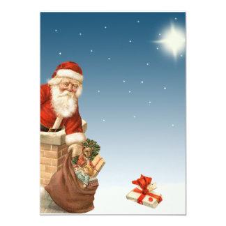 Santa que va abajo del diseño del vintage de la comunicado