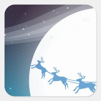 Santa que viaja con sus renos pegatina cuadrada