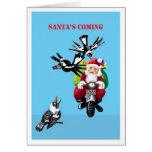 Santa que viene - tarjeta de Navidad australiana
