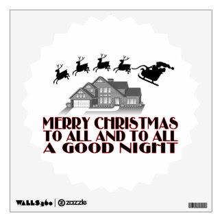Santa que vuela durante buenas noches del navidad