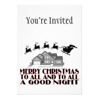 Santa que vuela durante buenas noches del navidad comunicado personalizado