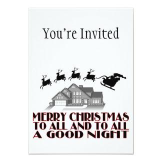 """Santa que vuela durante buenas noches del navidad invitación 5"""" x 7"""""""