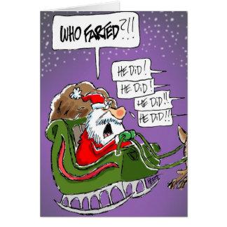 """Santa """"quién Farted?!"""" Tarjeta de Navidad del dibu"""