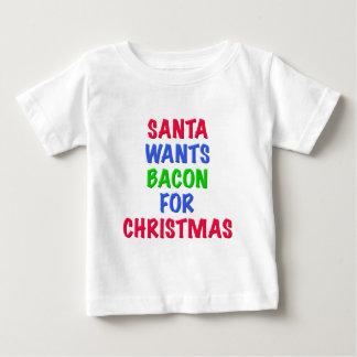 Santa quiere el tocino para el navidad poleras