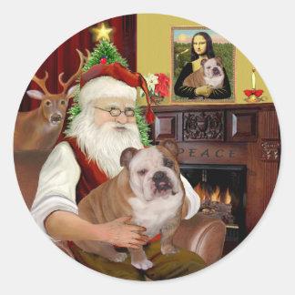 Santa (R) - English Bulldog 1 Stickers
