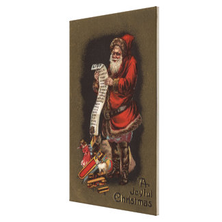Santa Reading his Good Children List Gallery Wrapped Canvas