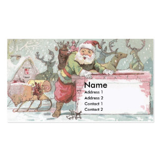 Santa Ready to Hop in the Chimney Trade Card Double-Sided Standard Business Cards (Pack Of 100)