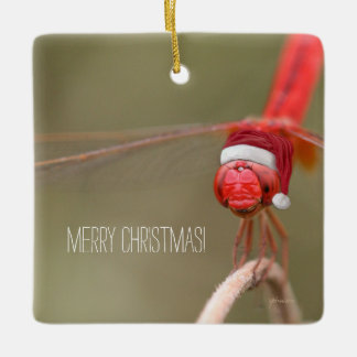Santa Red Dragonfly Merry Christmas Ceramic Ornament