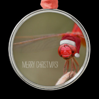 Santa Red Dragonfly Merry Christmas Metal Ornament