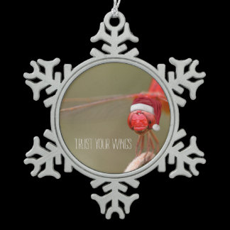 Santa Red Dragonfly Merry Christmas Snowflake Pewter Christmas Ornament