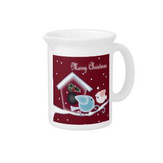 Santa Red mistletoe love birds christmas Pitcher
