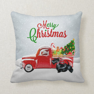 Santa, Red Truck, Scottish Terrier Christmas Pillo Throw Pillow