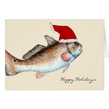 Christmas Themed Santa Redfish Christmas Card