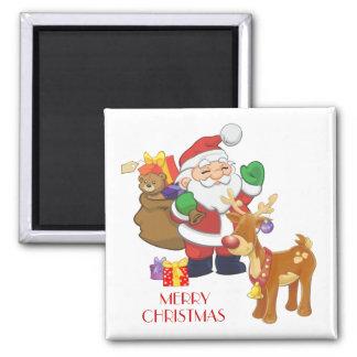 Santa & Reindeer 2 Inch Square Magnet