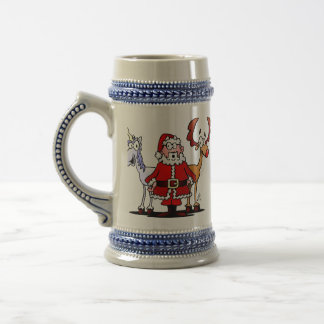 Santa, reindeer and a unicorn beer stein