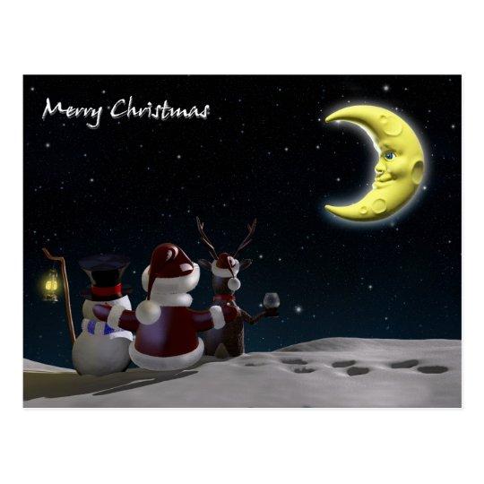 Santa, reindeer and Frosty Postcard