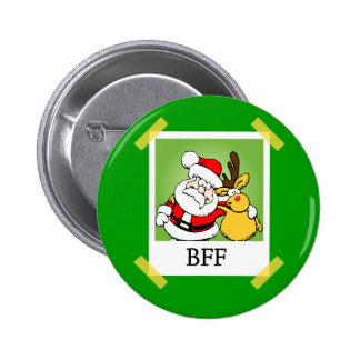 Santa & Reindeer  BFF's 2 Inch Round Button