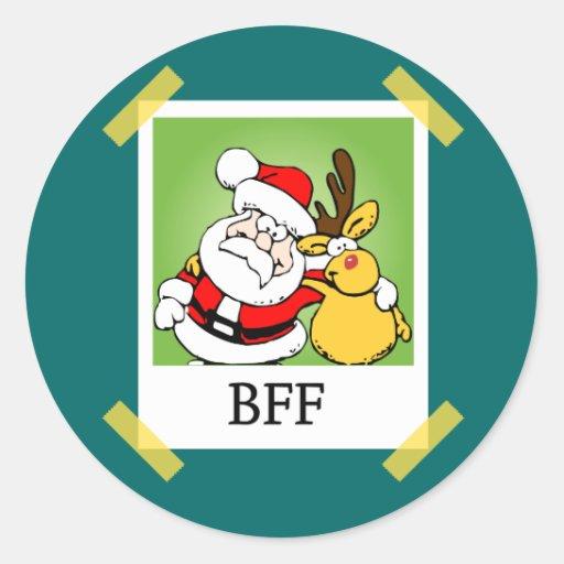 Santa & Reindeer  BFF's Classic Round Sticker