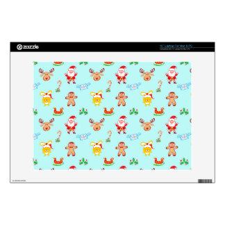 """Santa, reindeer, bunny and cookie man Xmas pattern 13"""" Laptop Skin"""