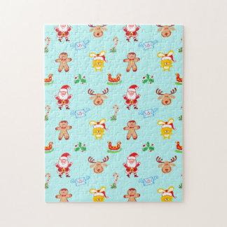 Santa, reindeer, bunny and cookie man Xmas pattern Jigsaw Puzzle
