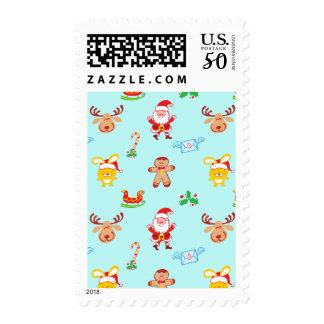 Santa, reindeer, bunny and cookie man Xmas pattern Postage