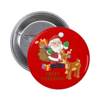 Santa & Reindeer 2 Inch Round Button