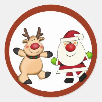Santa & Reindeer Christmas Holiday Classic Round Sticker