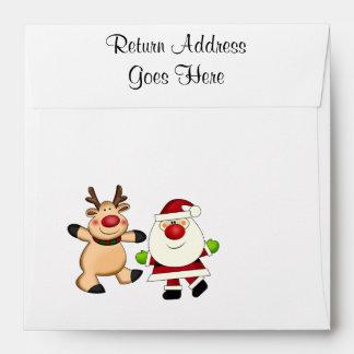 Santa & Reindeer Christmas Holiday Envelopes