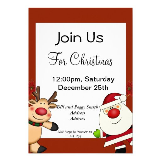Santa & Reindeer Christmas Holiday Invitations