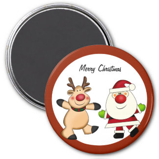 Santa Reindeer Christmas Holiday Fridge Magnet