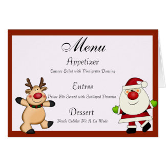 Santa & Reindeer Christmas Holiday Stationery Note Card