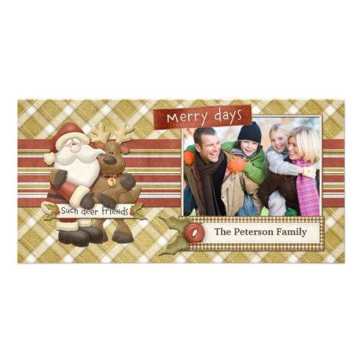 Santa Reindeer Christmas Photo Card