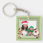 Santa & Reindeer Christmas Photo Template Acrylic Key Chains