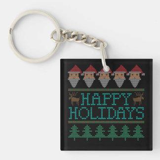 Santa Reindeer Christmas Tree Happy Holidays Keychain