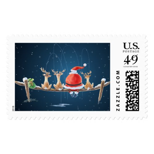 SANTA & REINDEER FISHING by SHARON SHARPE Postage