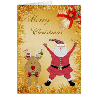 Santa & Reindeer Gold Tinsel & Bell Christmas Card