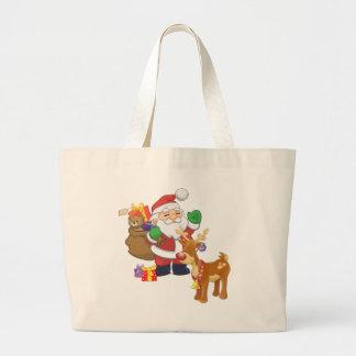 Santa & Reindeer Large Tote Bag