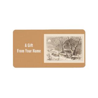 Santa Reindeer Moonlit Christmas Gift Tag Label at Zazzle