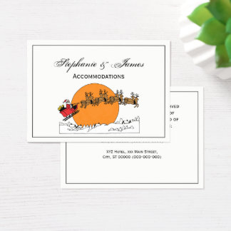 Santa Reindeer Over Snow Covered Town Moon Business Card