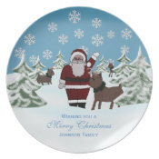 Santa & Reindeer: Personalized: Christmas Plate plate