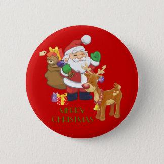 Santa & Reindeer Pinback Button