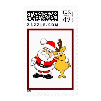 Santa & Reindeer Postage Stamp
